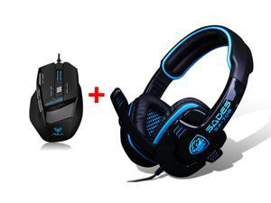 PC Gaming Headset w/ Microphone Mic + USB Wired Optical 7D 7 Buttons 2000DPI Gaming Mouse for PC Laptop