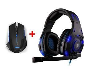 Over-ear Professional Stereo Headset Headband Pc Pro WCG Games Headphones w/ 2500DPI USB 2.4GHz Wireless Optical Gaming Mouse ...