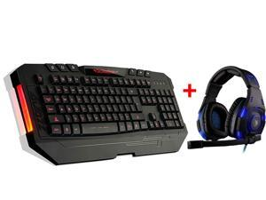 LED Illuminated Ergonomic USB Wired Multimedia 3 Colors (Blue/ Red/ Purple) Backlight Backlit Gaming Keyboard w/ Over-ear ...