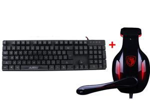USB Wired Blue/Red/Purple LED Illuminated Backlight Multimedia Gaming Keyboard + USB 2.0 7.1 Surround Professional Gaming ...
