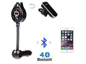 Brainydeal Car Kit Handsfree Bluetooth FM Transmitter Radio Adapter LED Display w/ Wireless Earphone Dual USB Charger