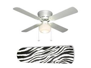 "Zebra Black and White 42"" Ceiling Fan with Lamp"