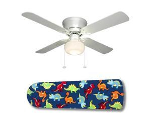 """Dinosaur Delight 42"""" Ceiling Fan with Lamp"""