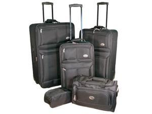 CONFIDENCE Travel BLACK Expandable 5 Piece Deluxe Luggage Set NEW
