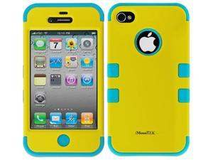 Apple iPhone 4 4S Hard Hybrid Case Cover Titanium Yellow/ Blue