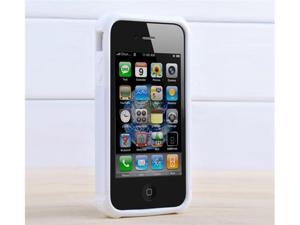 2 Piece Combo Hard Case Soft Gel Skin Rubber Defender Cover For iPhone 4 4S + free stylus + protectors (White)