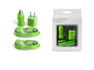 Wall Cube, Car Charger & 2 USB Cables for Apple iPod & iPhone 3G/3GS/4/4S - Green