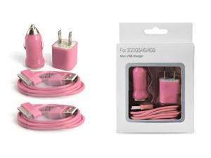 Wall Cube, Car Charger & 2 USB Cables for Apple iPod & iPhone 3G/3GS/4/4S  - Pink