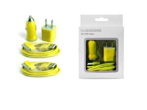 Wall Cube, Car Charger & 2 USB Cables for Apple iPod & iPhone 3G/3GS/4/4S - Yellow