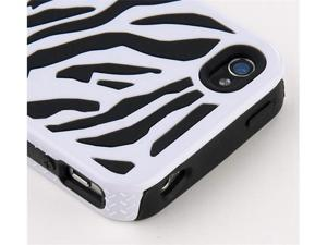 Hard Soft Silicone Armor Case Cover Combo for iPhone 4/4S (Black/ White/Zebra)