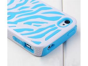 Hard Soft Silicone Armor Case Cover Combo for iPhone 4/4S (Blue/White/Zebra)