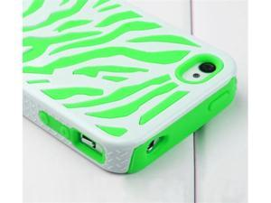 Hard Soft Silicone Armor Case Cover Combo for iPhone 4/4S (Green/White/Zebra)