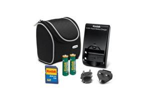 NEW KODAK EUROPEAN TRAVEL KIT ~1GB SD CARD+ 2 AA Rechargeable BATTERY+ CHARGER+ BAG