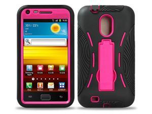 Black/ Pink Tmobile Samsung Galaxy S2 Hercules (Model T989) Premium Heavy Duty Hybrid Case