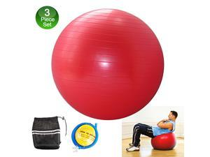 "Fitness Exercise Stability Ball 25"" Yoga Pilates Anti-Burst 3-Piece Set"