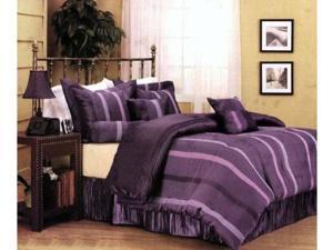 Pleated Purple Stripe Comforter Set Bed In A Bag Queen