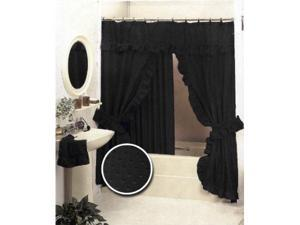 Black Double Swag Fabric Shower Curtain Set Valance - Newegg.
