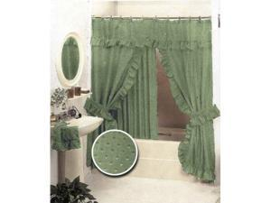 Double Swag Fabric Shower Curtain Set Sage Valance