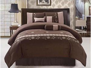7 Pcs Embroidery Flower Comforter Set Bed In A Bag Queen Coffee Brown/Beige
