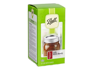 Ball® Set of 12 Regular Mouth Jar Lids with Bands