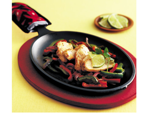 Lodge 10-in. Cast-Iron Preseasoned Enameled Fajita Pan with Wood Base