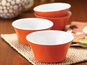 Rachael Ray Set of 4 Round & Square Cereal Bowls, Tangerine