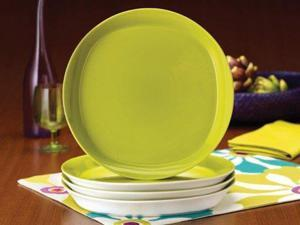 Rachael Ray Set of 4 Round & Square Dinner Plates, Green Apple