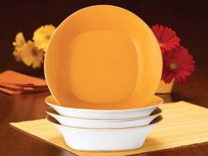Rachael Ray Set of 4 Round & Square Pasta Bowls, Lemon Zest