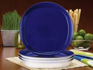 Rachael Ray Set of 4 Round & Square Dinner Plates, Blue Raspberry