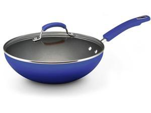 Rachael Ray Hard Enamel Cookware 11-Inch Covered Soup, Sauce & Saute Pan, Blue Two-Tone