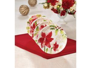 Paula Deen 4-pc. Holiday Floral Dessert Plate Set