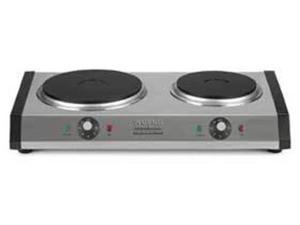 Waring Portable Double Electric Burner, Black and Stainless Steel