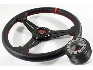 02-06 Acura RSX DC5 320mm Carbon Fiber Vinyl Wrapped/Red Stitched Drifting Racing Steering Wheel+Hub Boss Adapter Kit