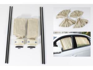 2X 50cm Beige Adjustable Slidable Mesh Style Privacy Window Curtains UV Sunshade Visor with Rails