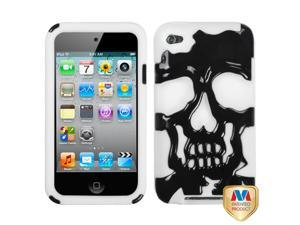 Black/White Skull Silicone + Hard Protector Cover Case iPod Touch 4th