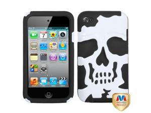 White/Black Skull Silicone + Hard Protector Cover Case iPod Touch 4th
