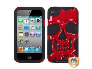 Red/Black Skull Silicone + Hard Protector Cover Case iPod Touch 4th