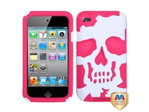 White/Pink Skull Silicone + Hard Protector Cover Case iPod Touch 4th