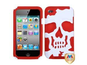 White/Red Skull Silicone + Hard Protector Cover Case iPod Touch 4th
