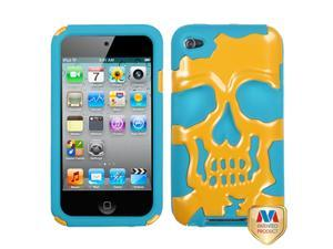 Yellow/Teal Skull Silicone + Hard Protector Cover Case iPod Touch 4th