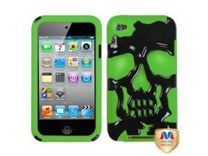 Black/Green Skull Silicone + Hard Protector Cover Case iPod Touch 4th