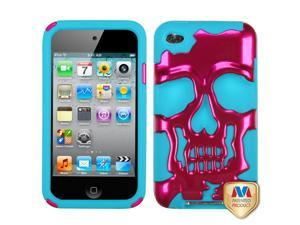 Hot Pink/Blue Plated Skull Hybrid Protector Cover Case iPod Touch 4th Gen