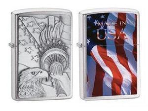 Fox Something Patriotic Emblem Zippo Lighter , Chrome -