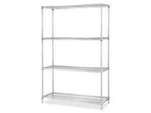 "Lorell 84187 Industrial Chrome Wire Shelving Starter Kit 36"" Width x 18"" Depth - Steel - Chrome"