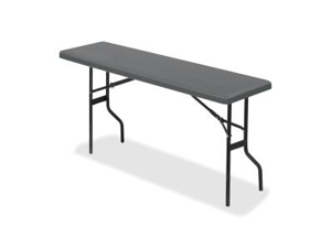 "Iceberg 65357 IndestrucTable TOO 1200 Series Foldlng Table Rectangle - 18"" x 60"" x 29"" - Polyethylene, Steel - Charcoal"