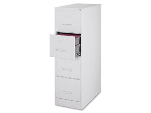 "Lorell Fortress Series 28.5'' Letter-size Vertical Files 15"" x 28.5"" x 52"" - Steel, Aluminum - 4 x File Drawer(s) - Light ..."