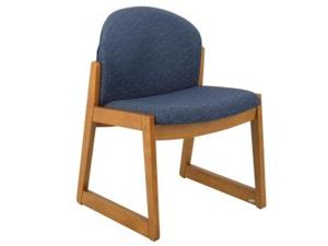 Safco Urbane Armless Guest Chair Fabric Blue Seat - Wood Medium Oak Frame