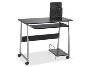 "Lorell 84847 Mobile Computer Desk Rectangle - 41.50"" x 20.50"" x 35.5"" - Fiberboard, Metal - Black, Silver"