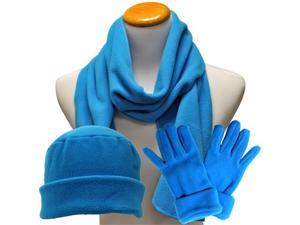 Turquoise 3 Piece Polar Fleece Hat Scarf & Glove Matching Set