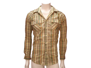 Tan Beige & Green Plaid Men's Long Sleeve Button Down Shirt